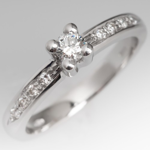 Petite Round Brilliant Diamond Engagement Ring w/ Accents 18K