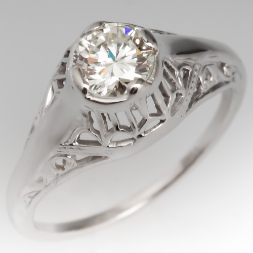 Vintage Diamond Filigree Engagement Ring 18K White Gold
