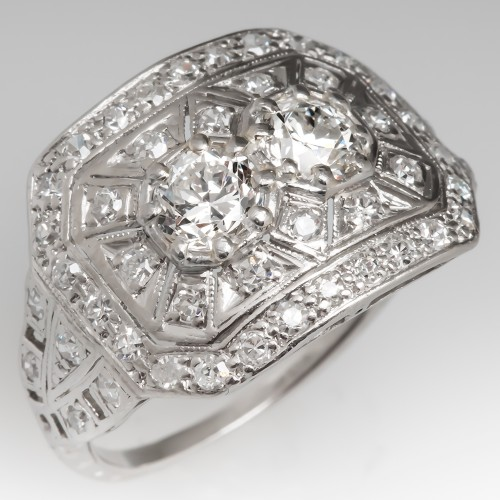 Art Deco 1930's Filigree Diamond Ring Detailed Openwork Platinum