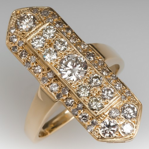 Diamond Encrusted North to South Ring 14K Yellow Gold