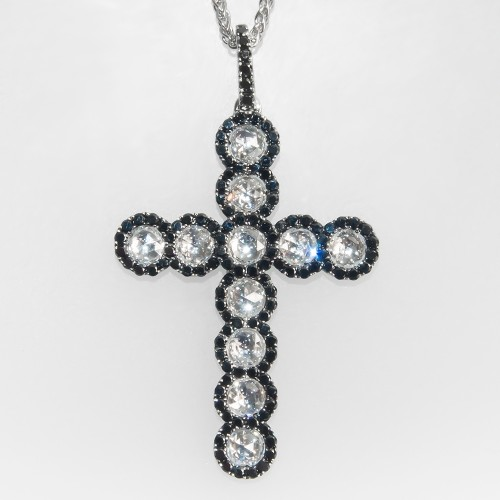Spark Designer Diamond Cross Pendant Necklace 18K Gold