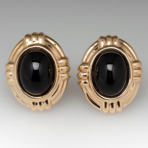 Large Black Onyx Bezel Earrings 14K Yellow Gold