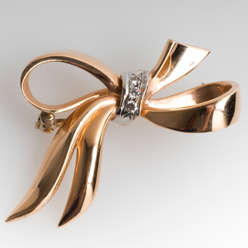 Retro Rose Gold Diamond Ribbon Brooch Pin 14K