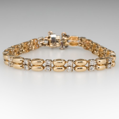 Estate Diamond Fancy Link Bracelet 14K Gold 7-Inch