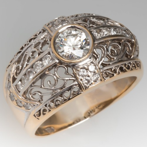 Wide Band Openwork Diamond Ring Two-Tone 18K Gold