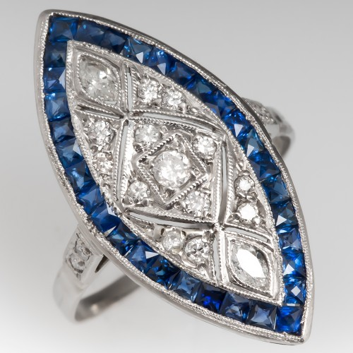 Vintage Diamond Sapphire Dinner Ring Filigree Openwork Platinum