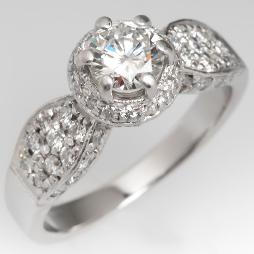18K White Gold Diamond Halo Engagement Ring w/ Accents