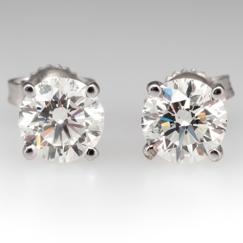 2 Carat Total Weight Round Brilliant Diamond Stud Earrings