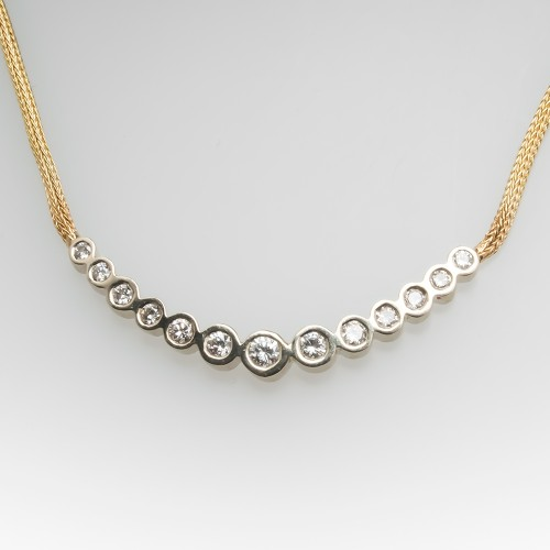 Bezel Set Graduated 13 Round Brilliant Diamond Necklace14K Gold