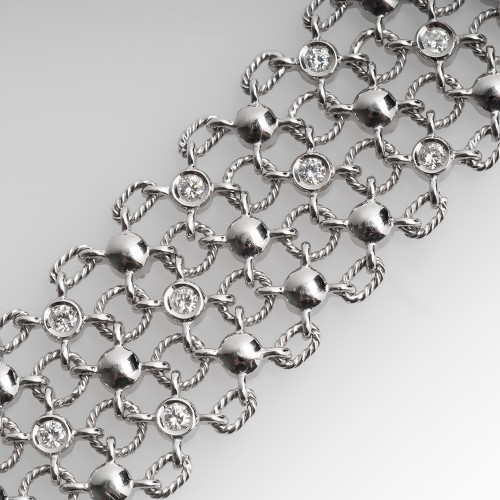 Wide Openwork Diamond Bracelet 18K White Gold