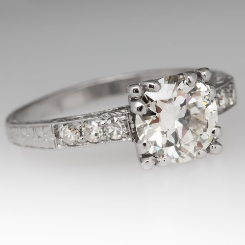 1 Carat Transitional Cut Diamond Antique Engagement Ring