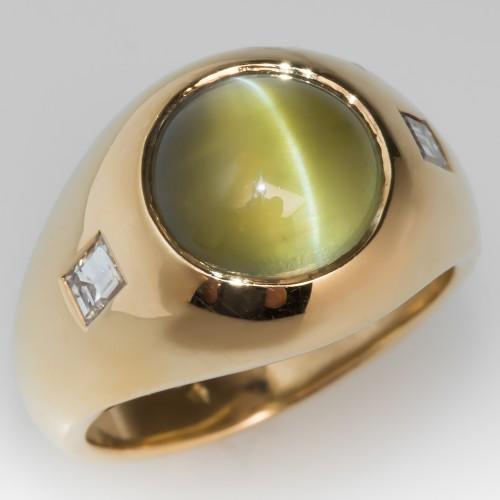 Vintage Mens Cats Eye Chrysoberyl Ring 18K Gold