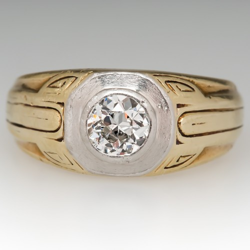 Art Deco Mens Old Euro Diamond Ring Detailed 14K Gold & Platinum