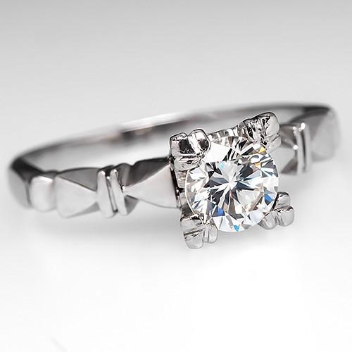 Vintage Round Brilliant Diamond Platinum Ring