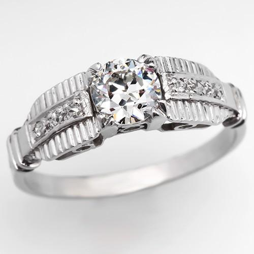 Retro Diamond Engagement Ring w/ Accents Platinum 1950's
