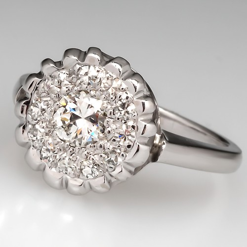 Vintage Old Diamond Halo Ring 14K White Gold
